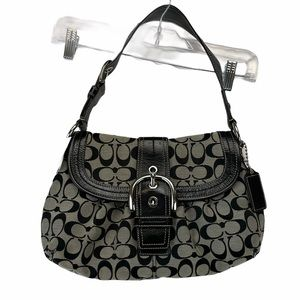Coach Signature Logo Purse Black Grey